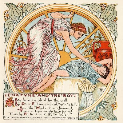 Fortune and the Boy, Illustration from 'Baby's Own Aesop', Engraved and Printed by Edmund Evans,…-Walter Crane-Giclee Print