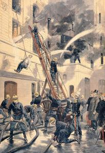 """Felix Faure with the Firemen, from """"Le Petit Journal"""", 20th February 1898 by Fortuné Louis Méaulle"""