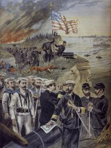 Spanish-American War, Landing at Guantanamo, Cuba, Illustration from 'Le Petit Journal' by Fortune Louis Meaulle