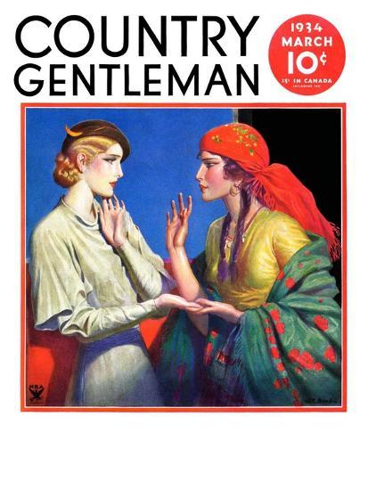 """""""Fortune Teller,"""" Country Gentleman Cover, March 1, 1934-Wladyslaw Benda-Giclee Print"""
