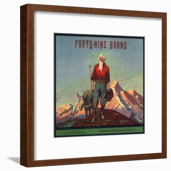 Forty-Nine Brand - Redlands, California - Citrus Crate Label-Lantern Press-Framed Art Print