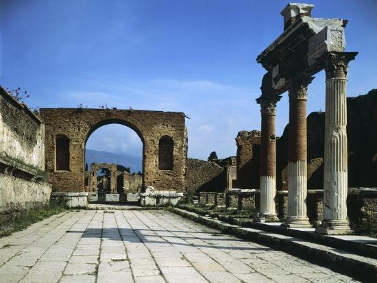 Forum Showing Entrance of Macellum on Right and in Background Arch of Triumph--Giclee Print