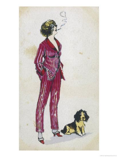 Forward Young Woman Wears a Cerise Pink and Red Pyjama Suit-Xavier Sager-Giclee Print