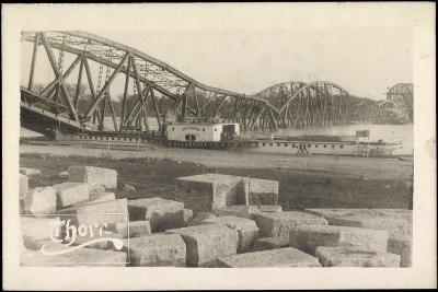 Foto Graudenz Westpreußen, Zerstörte Brücke, Dampfer--Giclee Print