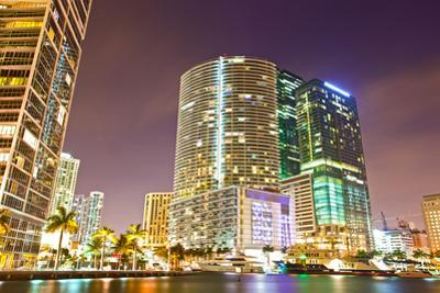City of Miami Florida Colorful Night Panorama of Downtown by Fotomak