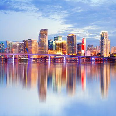 City of Miami Florida Night Skyline by Fotomak