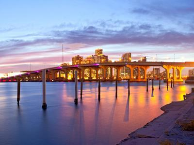 City of Miami Florida Summer Sunset Panorama by Fotomak