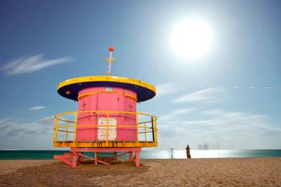 Miami Beach Florida Colorful Lifeguard House at Night by Fotomak