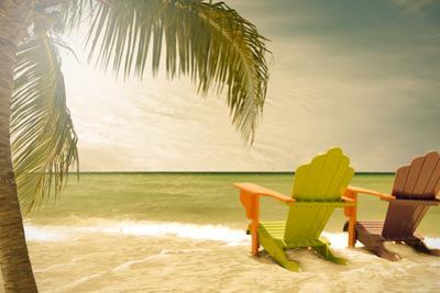 Miami Beach Florida Lounge Chairs and Palm Trees by Fotomak