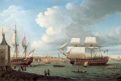 Foudroyant and Pegase Entering Portsmouth Harbour, 1782-Dominic Serres-Giclee Print
