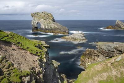 Foula Part of Shetland Islands. Cliffs in North at East Hoevdi with Natural Arch Gaada Stack-Martin Zwick-Photographic Print