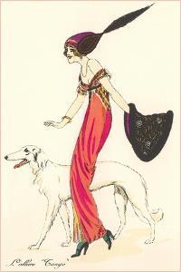 French Women's Art Deco Fashion, Borzoi by Found Image Press