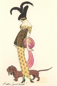French Women's Art Deco Fashion, Dachshund by Found Image Press