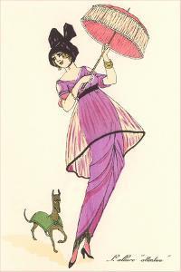 French Women's Art Deco Fashion, Dog by Found Image Press