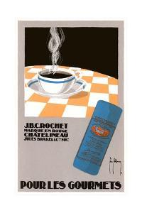 Pour Les Gourmets Coffee, Cup on Tablecloth by Found Image Press
