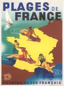 Travel Poster For Beaches Of France by Found Image Press