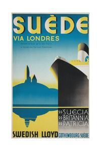 Travel Poster for Swedish Cruise Ships by Found Image Press