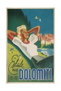 Travel Poster for the Dolomites, Italy by Found Image Press