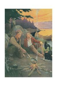 Two Men Camping with Victrola by Found Image Press