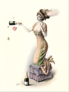 Woman With Champagne Bottle by Found Image Press