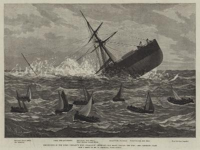 Foundering of the Union Company's Mail Steam-Ship American, the Boats Leaving the Ship--Giclee Print