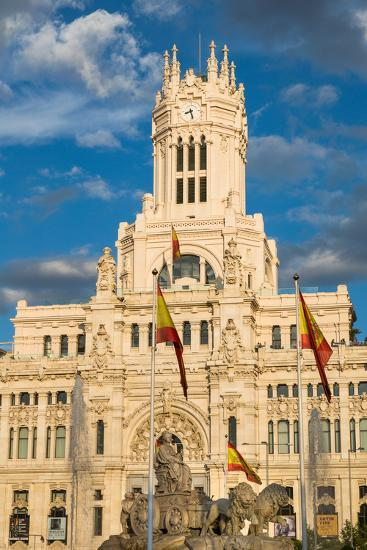 Fountain and Cybele Palace, Formerly the Palace of Communication, Plaza De Cibeles, Madrid, Spain-Martin Child-Photographic Print