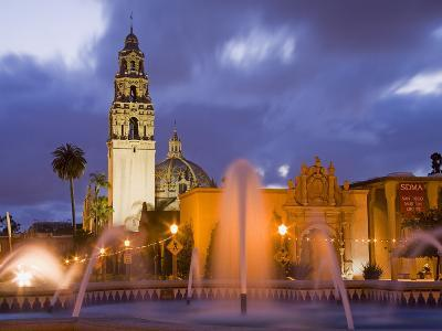 Fountain and Museum of Man in Balboa Park, San Diego, California--Photographic Print