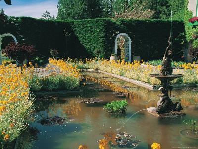 Fountain and Pond, Butchart Gardens, Canada-Francie Manning-Photographic Print