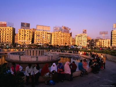 Fountain at Midan Tahrir (Liberation Square), Cairo, Egypt-Anders Blomqvist-Photographic Print
