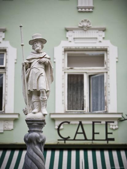 Fountain Detail and Cafe, Melk, Wachau, Lower Austria, Austria-Doug Pearson-Photographic Print