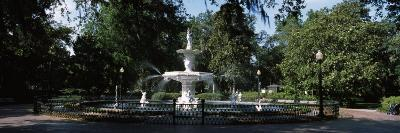 Fountain in a Park, Forsyth Park, Savannah, Chatham County, Georgia, USA--Photographic Print