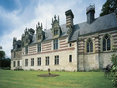 Fountain in Front of a Castle, Chateau D'Etelan, St-Maurice-D'Etelan, Haute-Normandy, France--Photographic Print