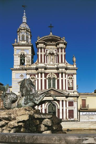 Fountain in Front of a Church, St. Sebastian, Caltanisetta, Sicily, Italy--Giclee Print