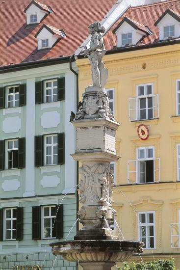 Fountain in Front of Buildings, Roland Fountain, Bratislava, Slovakia--Giclee Print