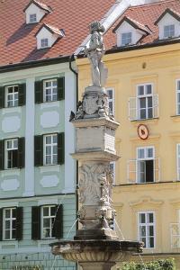 Fountain in Front of Buildings, Roland Fountain, Bratislava, Slovakia