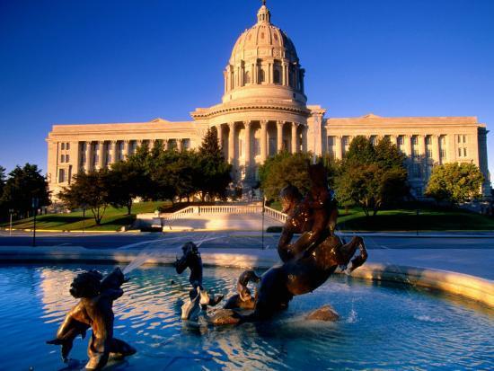 Fountain in Front of Missouri State Capitol Building, Jefferson City, Missouri-John Elk III-Photographic Print