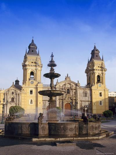 Fountain in Front of the Cathedral in Lima, Peru, South America-Charles Bowman-Photographic Print