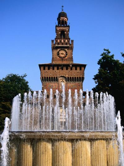 Fountain in Front of Tower of Castello Sforzesco, Milan, Italy-Martin Moos-Photographic Print