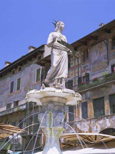 Fountain in Piazza Delle Erbe, Verona, Unesco World Heritage Site, Veneto, Italy, Europe-Gavin Hellier-Photographic Print