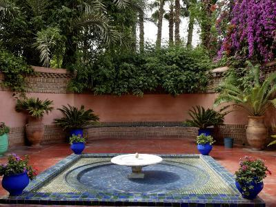 Fountain in the Majorelle Garden, Restored by the Couturier Yves Saint-Laurent, Marrakesh, Morocco-De Mann Jean-Pierre-Photographic Print