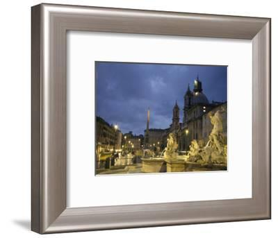Fountain in the Piazza Navona Outside the Santa Maria Dell'Anima Church in Rome, Italy-Richard Nowitz-Framed Photographic Print