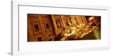 Fountain Lit Up at Night, Trevi Fountain, Rome, Italy--Framed Photographic Print
