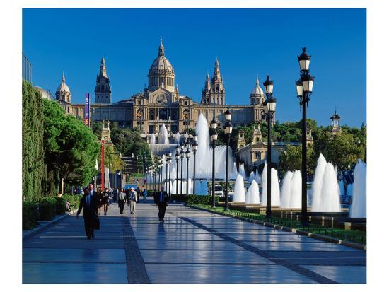 Fountain Natl Museum Barcelona--Art Print