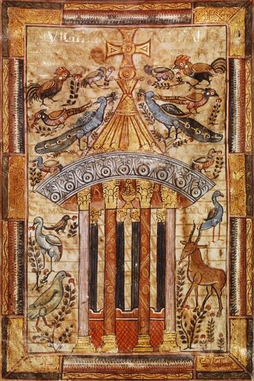 Fountain of Life, Miniature from the Godescalco Gospels, Germany 8th Century--Giclee Print