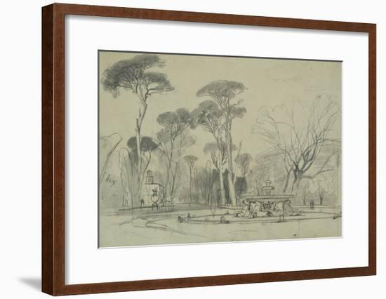 Fountain of the Sea-Horses in the Garden of the Villa Borghese, Rome-Edward Lear-Framed Giclee Print
