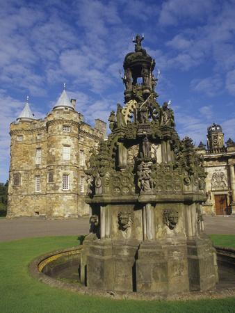 Fountain on the Grounds of Holyroodhouse Palace, Edinburgh, Scotland-Christopher Bettencourt-Photographic Print
