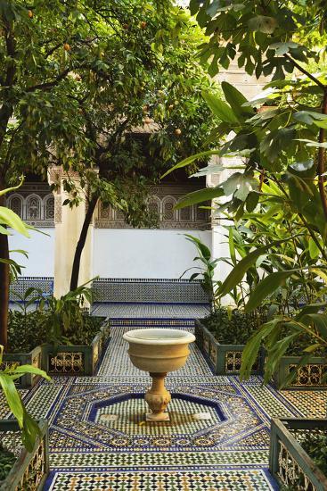 Fountain, Palais de la Bahia, Medina, Marrakesh, Morocco, North Africa, Africa-Jochen Schlenker-Photographic Print