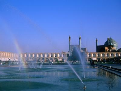 Fountain with Rainbow Outside Masjed-E Emam, Esfahan, Iran-Martin Moos-Photographic Print
