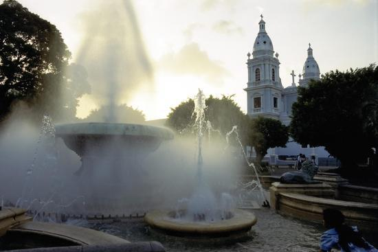 Fountains And The Ponce Cathedral-George Oze-Photographic Print