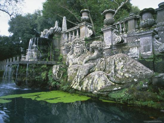 Fountains in the Gardens of the Villa Lante, Bagnaia, Lazio, Italy, Europe-Michael Newton-Photographic Print